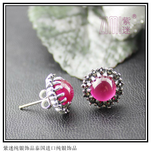 Gift 925 pure silver stud earring jewelry LAOYINJIANG handmade thai - red zimi Sterling store