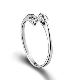 100% Sterling Silver Jewelry Lovely Female Models Ring Double Finger Silver Ring Top Quality! Free Shipping<br><br>Aliexpress