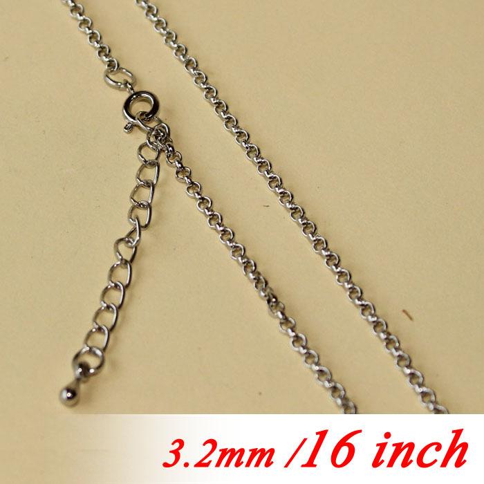 "Здесь можно купить  16"" Metal Jewelry Links For Pendants 3.2mm Circle Rolo Fashion Necklace Chains With Round Clasps Extender End Drops Rhodium Tone  Ювелирные изделия и часы"