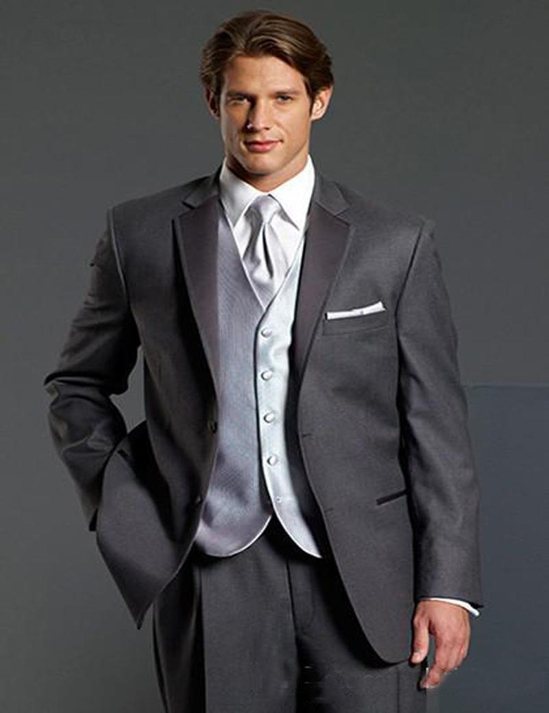 Custom Made Groom Tuxedos Charcoal Grey Notch Lapel Best man Groomsman Men Wedding/Prom Suits Bridegroom (Jacket+Pants+Tie+Vest)