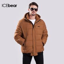 Icebear мужчины утолщение теплая зима мода досуг хлопка-ватник съемный шлем карман на молнии открытый пальто 14MD996-1(China (Mainland))