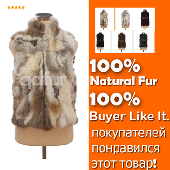 Осень леди подлинных природных сращены кролика меховой жилет мандарин воротник зимний женщины жилет женский верхняя одежда пальто QD30406