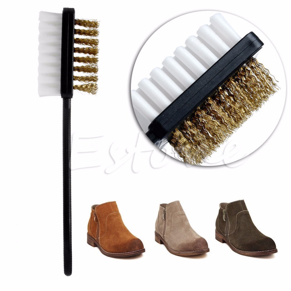new b shape 2 side shoe cleaning brush suede nubuck boot