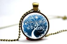 Antique Bronze chain life tree chock necklace glass cabochon necklace pendant art picture women fashion woodland