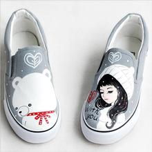 Flats Canvas shoes 2016 New Graffiti Hand-painted  Casual Shoes Leisure Woman / Man free Picture One Size women's shoes 34-44