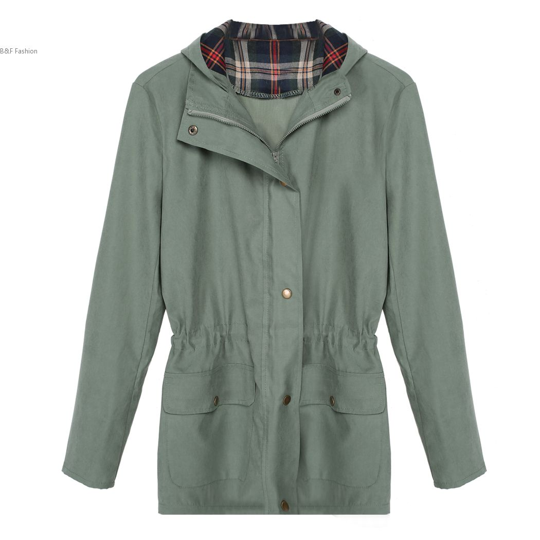 Mode Cool femmes à carreaux occasionnel Patchwork à capuchon veste coupe - vent manteau(China (Mainland))