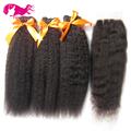 7A Mongolian Kinky Straight Human Hair Weave 3 Pcs Coarse Yaki Bundles Italian Yaki Kinky Straight Weave Virgin Hair Extension