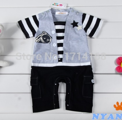 Stripe Baby Rompers Camera Short Sleeve Toddler Body suits Coverall Baby Tuxedo Shortalls(China (Mainland))