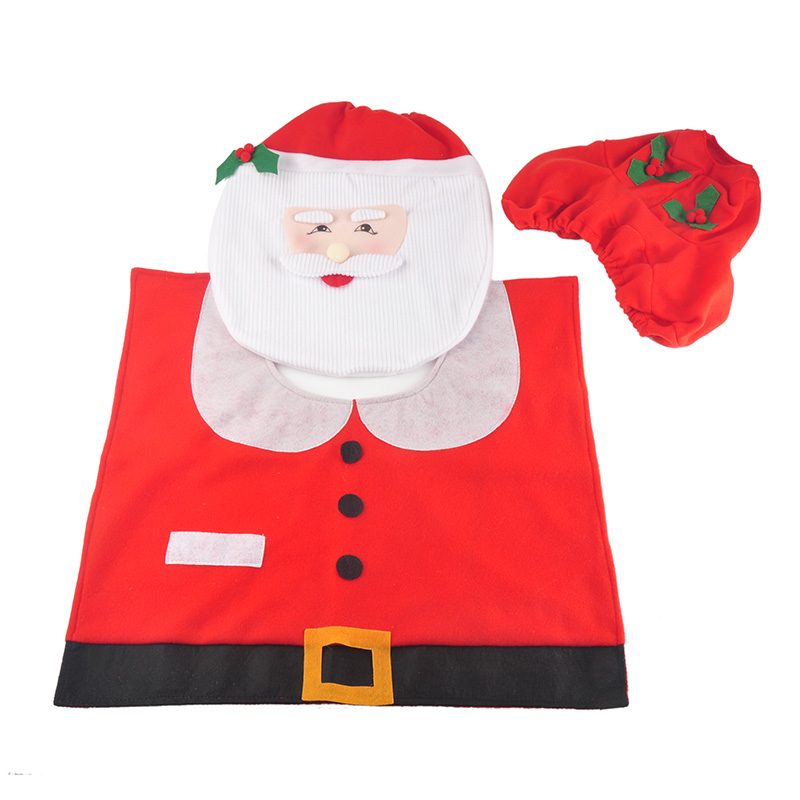 Santa Claus Toilet Seat Cover Case and Rug Set Toilet Clothes Bathroom Christmas Decoration Bath Mat Holder Closestool Lid Cover(China (Mainland))