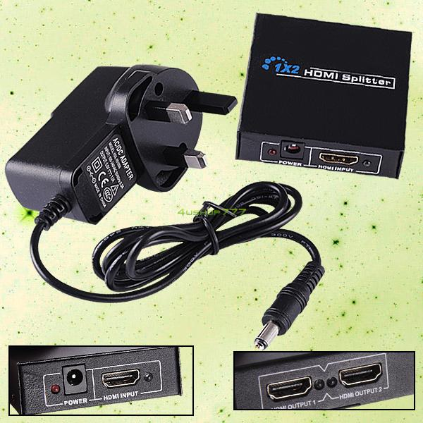 HDMI Splitter 2 Port 1 In 2 Out Amplifier Repeater Duplicator UK Power Supply EL5634(China (Mainland))