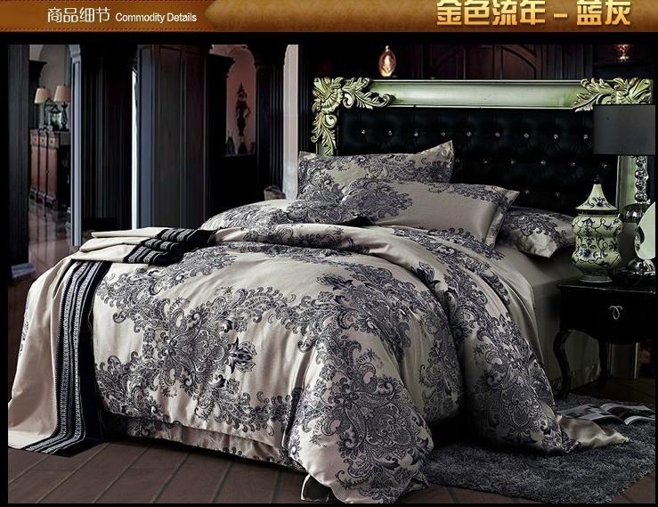 Luxe bleu satin gris jacquard ensemble de literie taille de roi reine literie couverture de duvet couvre-lit drap de lit maison texile drap hom(China (Mainland))