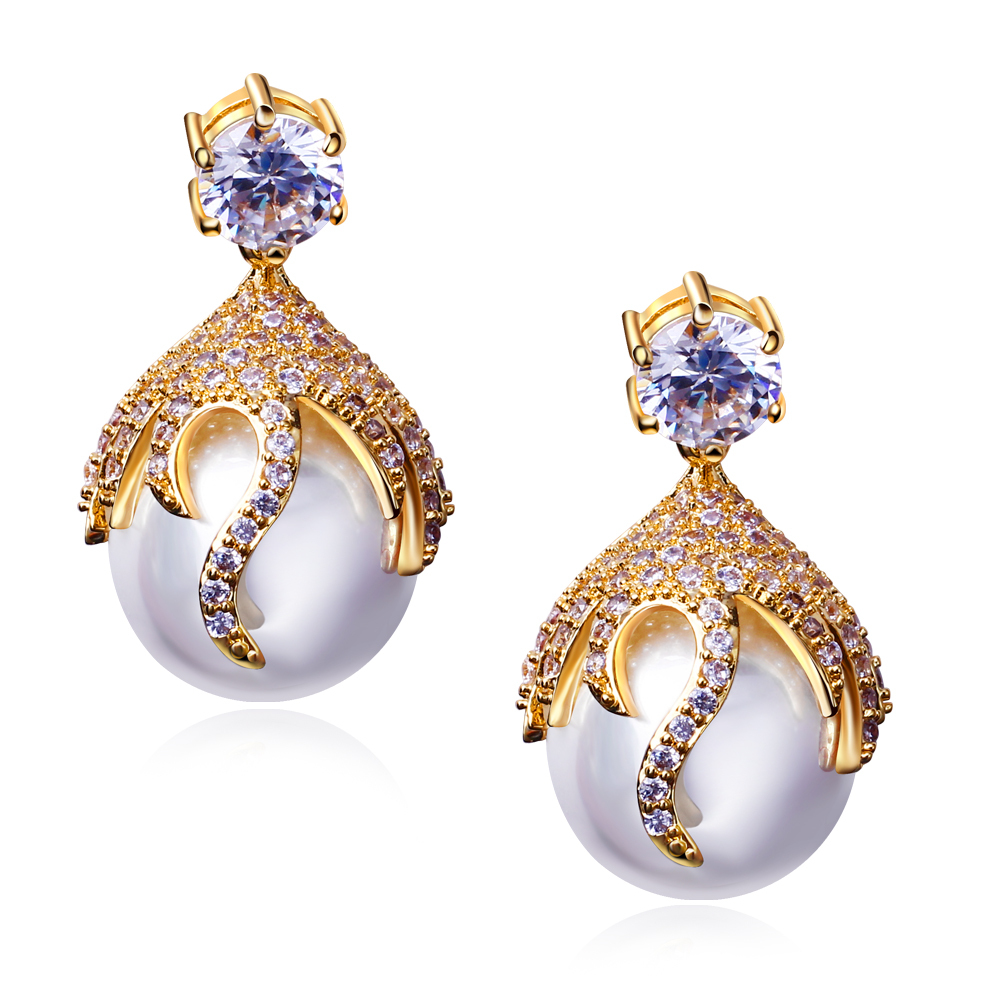 2015 Beautiful Peal Drop Earrings For Women Wedding Bridal