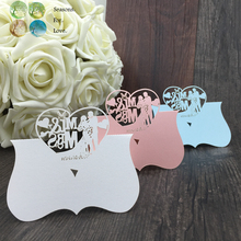Free shiping 40pcs love heart Mr Mrs cute Laser Cut Party Table Name Place Cards Favor Decor wedding supplies gifts Favors Decor