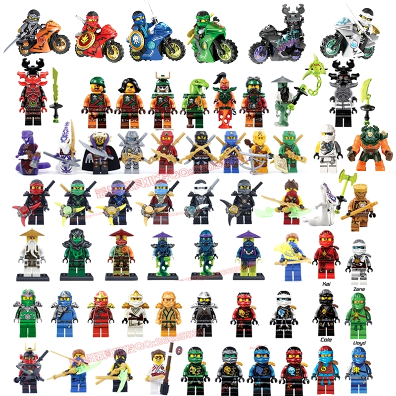 Compatible LegoINGlys NinjagoINGlys Mini figures Cole Kai Jay Lloyd Nya Zane Yang Dogshank Building Blocks Toys Ninja Weapon - COASTLINE TOY store
