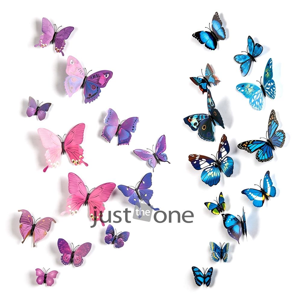 12pcs 3D Butterfly Wall Stickers Butterflies Decors For Home Fridage Wall Room Decoration Gossip Girl Same Style 54(China (Mainland))