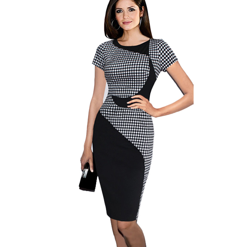 Womens Elegant Work Office Business OL Party Bodycon Pencil Dress Summer Lady Patchwork font b Tartan