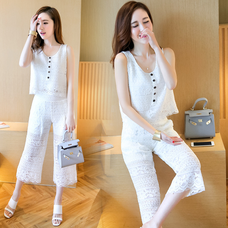 agency Europe station 2016 summer new two piece suit vest wide leg pants suit water-soluble lace dress female(China (Mainland))