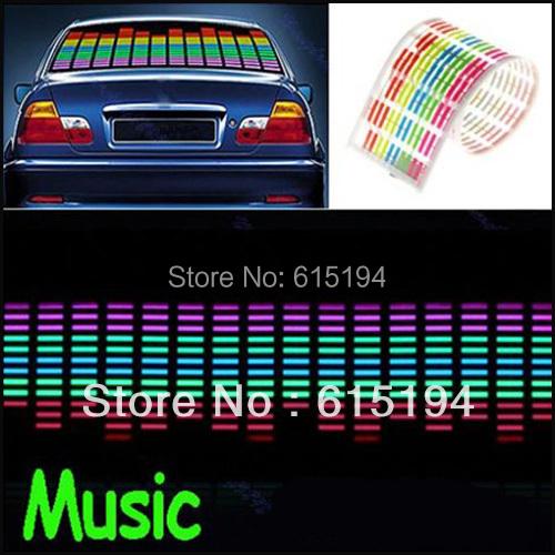 114 cm *30 cm Colourful Flash Car Sticker Music Rhythm LED EL Sheet Light Lamp Sound Music Activated Equalizer car Stickers(China (Mainland))