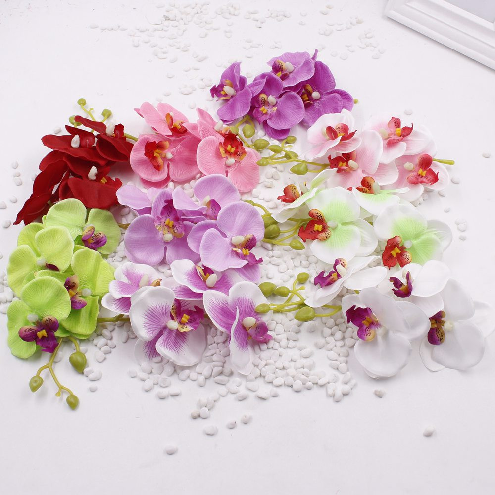 1pcs/lot  Wedding Phalaenopsis Butterfly Moth Orchid Fake Orchids Flower for home Centerpieces Decorative Artificial Flowers