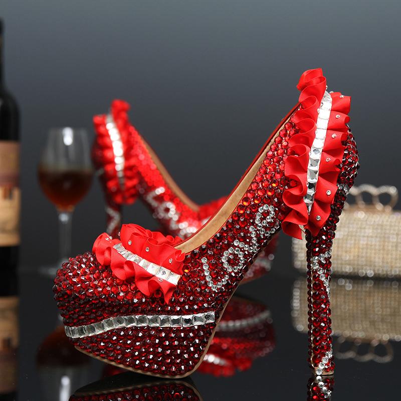 2015 Newest Design Red Rhinestone Bride Shoes Cusstomized Wedding Dress Shoes Platform Pumps High Heel Shoes Love Shape<br><br>Aliexpress
