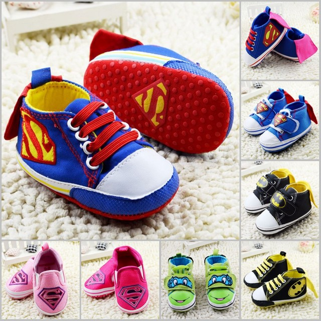 New Cartoon Baby Shoes 2016 Fashion Superman Kids Sport Shoes Totem Babies Casual Shoes Children Sneakers First Walkers