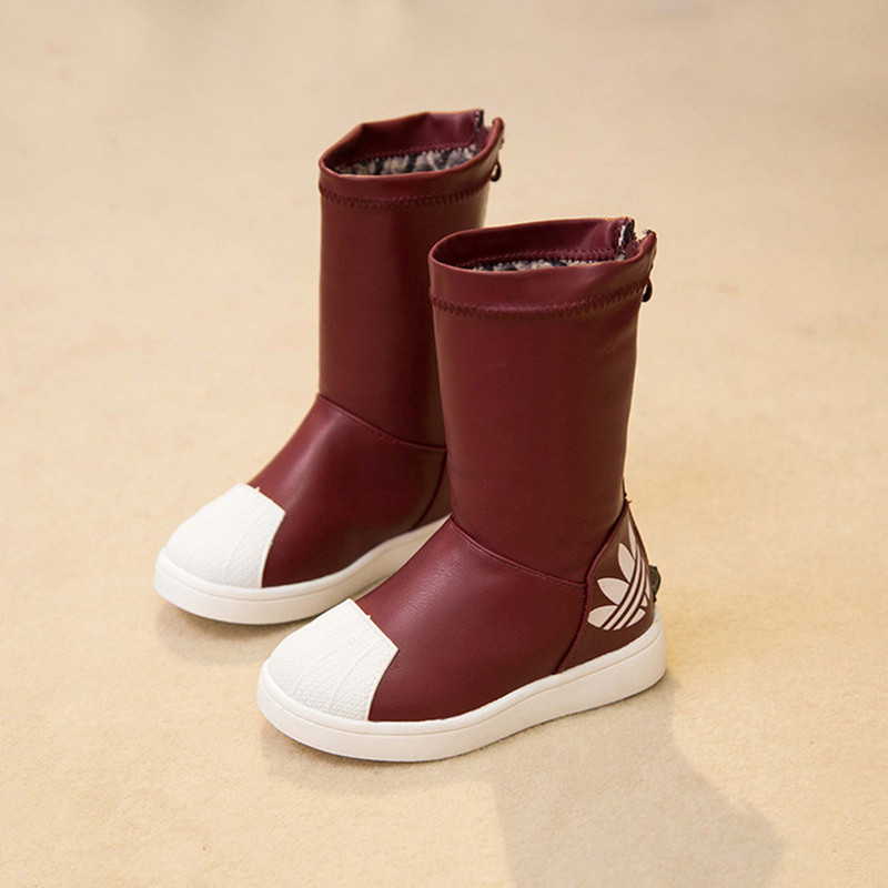 New kids winter boots for girls red high top shoes toddler snow boots
