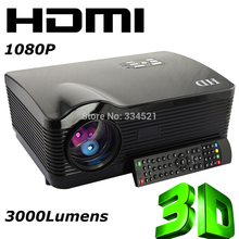 US Stock Black 2000:1 HD 3D Projector 120W LED lamp 3000Lumens Projector for home theater With 3HDMI Ports(China (Mainland))