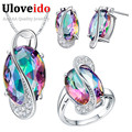 Fashion Pendant Earrings Ring Crystal 925 Sterling Silver Bijoux African Mystic Topaz Jewlery Set Wedding Necklaces