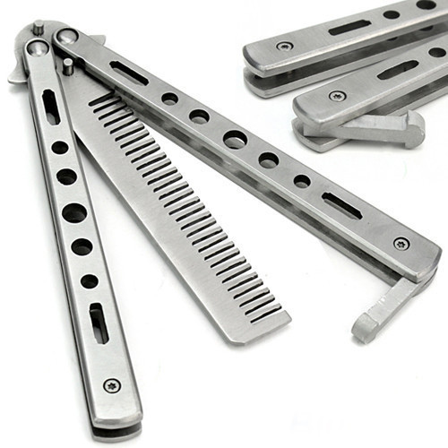 2015 New Trendy Stainless Steel Practice Training Butterfly Knife Comb Tool Cool Sport