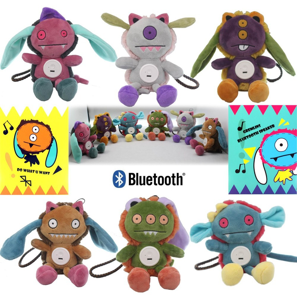 Funny Monster Mini Plush Doll Toy Wireless Portable Bluetooth Speaker For Smart Phone PC Outdoors Sound System(China (Mainland))