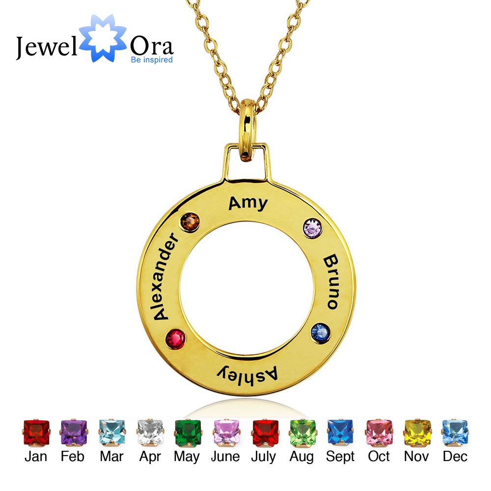 Personalized Engrave Pendants Necklaces Four Birthstone Round Shape 925 Sterling Silver Necklaces & Pendants (JewelOra NE101233)(China (Mainland))