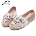 2017 Spring Autumn Women loafer Round Toe espadrilles Pearl Comfortable Hemp Bottom Frisherman Shoes Slip On