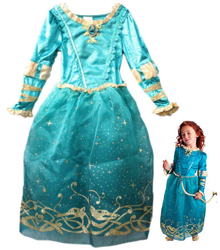 Girls Halloween Costumes Brave Legend Princess Costume Merida Cosplay Dress for Kids Halloween Costumes for Girls Free Shipping(China (Mainland))