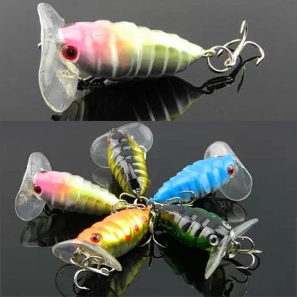 Random Color 1 Pcs Plastic Top water Insects Lure 4cm 4.4g Fishing Bait Bass Crank Bait Free Shipping(China (Mainland))