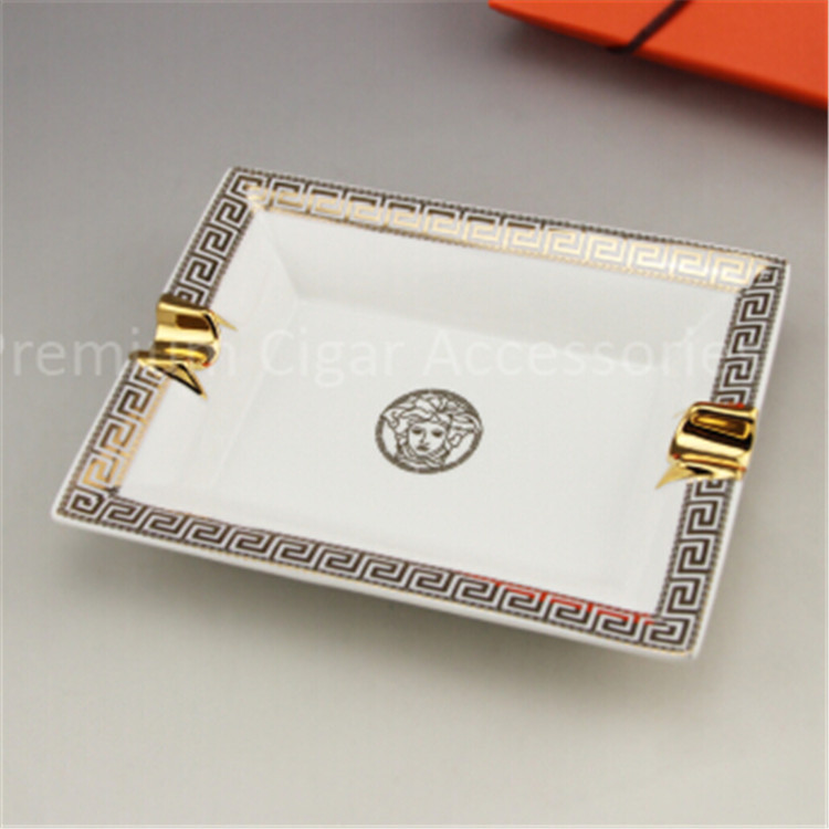 Luxury Brand New White Ceramic Ashtray Greek Decoration Pattern Cool Porcelain Cigar Ashtray with Gift Box Packing(China (Mainland))