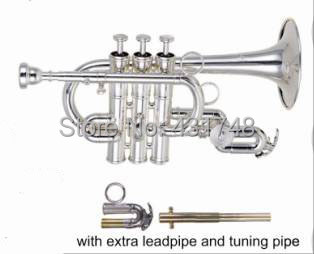 Professional Bb/A Piccolo Trumpet in Silver Plated with case EMS free shipping Musical instruments factory supply(China (Mainland))