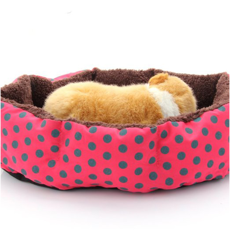 1PC spot Pet Bed Dog Puppy Cat Soft Dot Cotton Fleece Warm Nest House Mat Red(China (Mainland))