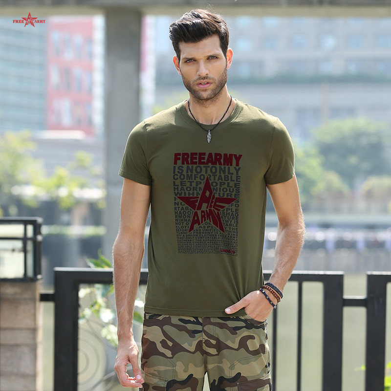 2016 High Quality Short t-shirt Men Summer Army Green Short Sleeve Cotton Camouflage t shirts Men gym clothing MS-6268A Z35(China (Mainland))