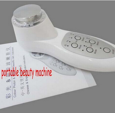 New colour photon & ultrasonic beautiful skin instrument Portable Facial Face Skin Care Machine Cleaner Massager with retail box(China (Mainland))