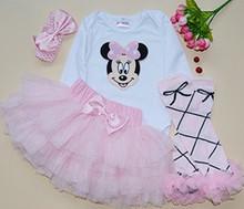 2016 Saias Skirt Set Mesh Tutu Skirts For Infants with Ice Cream Pattern Bodysuit 5pcs Set Tutu Skirts Girls Birthday Clothing(China (Mainland))