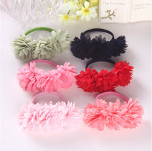 Chiffon flowers children baby girls headwear hair accessories rubber bands barrettes girl headwear bow Retail wholesale Boutique