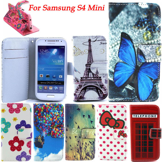 22 Color Cartoon Butterfly Owl Design PU Leather Cell Phone Flip Case Cover For Samsung Galaxy S4 Mini i9190 With Wallet & Stand(China (Mainland))