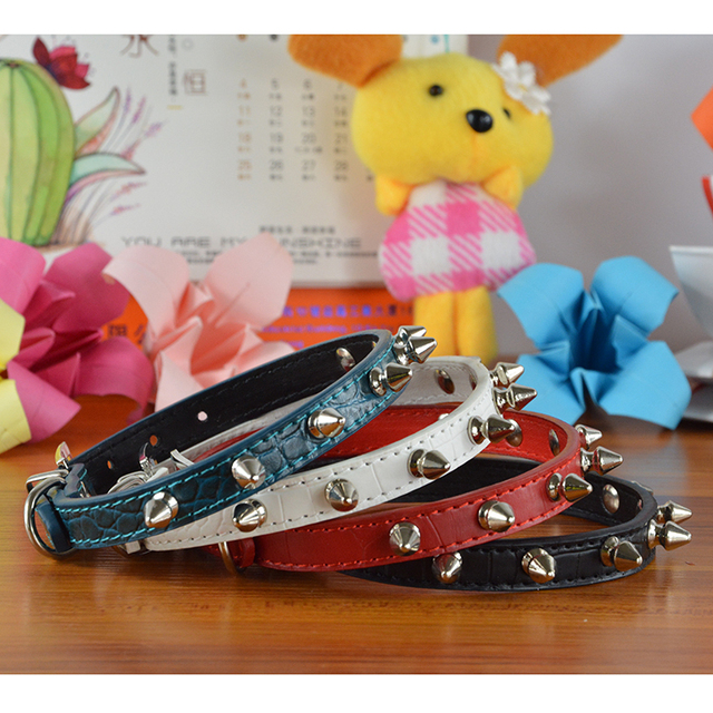 High Quality PU Leather Spiked Studded Crocodile Pattern Pet Collar Dog Chain Leash Lead