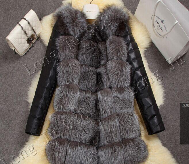 2015 new high imitation silver fox fur coat PU sleeves warm winter coat fox coat big yards overcoat(China (Mainland))