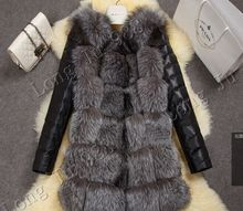 2015 new high imitation silver fox fur coat PU sleeves warm winter coat fox coat big yards overcoat(China (Mainland))