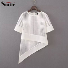 2016 Hollow Out Women Asymmetrical Mesh Tops Short Sleeve Hole Transparent Shirt Woman Irregular Sexy Summer See Through Blouse