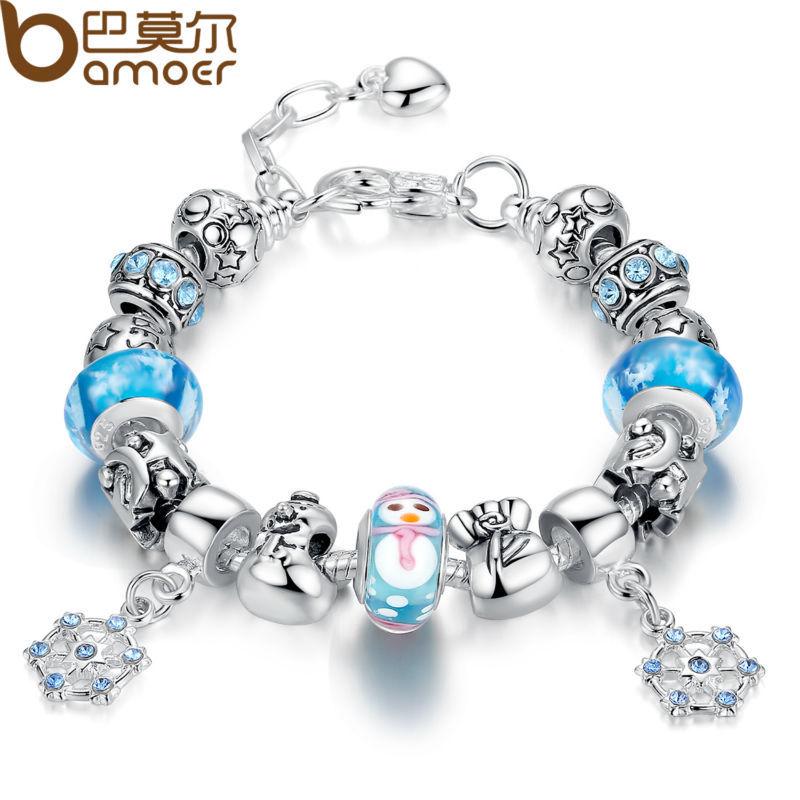 Bamoer luxury silver charm bracelet amp bangle for women with high