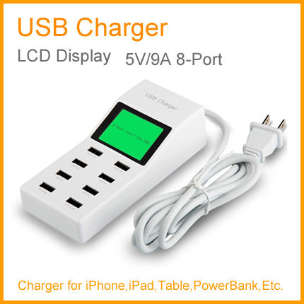 A18 Hot Sale !! Universal 45W 8-Ports 5V 9A USB Smart Desktop USB Charger for APPLE for SAMSUNG and any Other Smart Devices(China (Mainland))