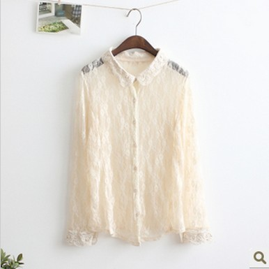 2013 spring small sand ladies ol vintage all-match soft lace crotch turn-down collar shirt(China (Mainland))