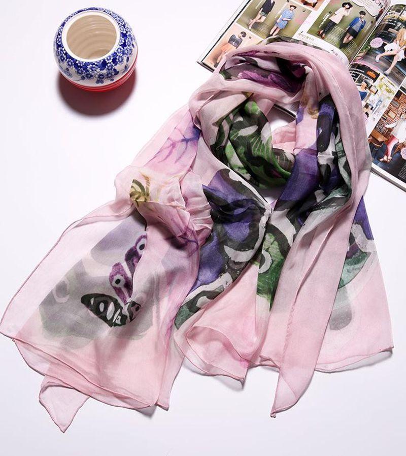 NEW Painted Butterfly Pattern 100% Silk Chiffon Scarf ,Women's Spring Summer Silk Shawl Wraps 190x110cm(China (Mainland))